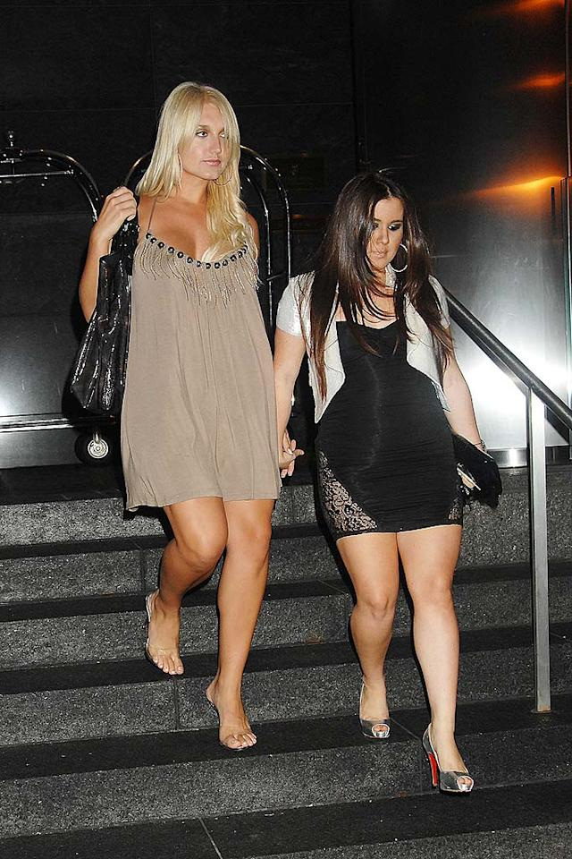 "We'll spare Brooke Hogan's friend, but the dejected pop ""singer"" should know better than to step out in NYC while wearing a potato sack and abysmal acrylic heels. Demis Maryannakis/<a href=""http://www.splashnewsonline.com"" target=""new"">Splash News</a> - July 7, 2008"