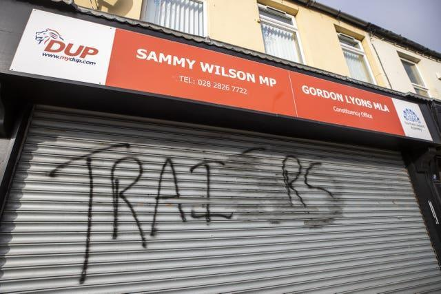 Graffiti on the shared DUP offices of Sammy Wilson and Gordon Lyons