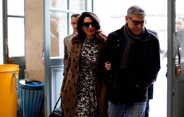 George and Amal spotted together in Paris not long after Amal announced her pregnancy. Source: Getty