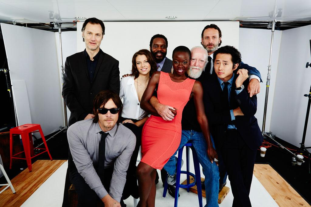 "David Morrissey, Lauren Cohan, Chad Coleman, Danai Gurira, Scott Wilson, Andrew Lincoln, Steven Yeun, and Norman Reedus of ""The Walking Dead"" posing for TV Guide at the 2013 Comic-Con International Convention."
