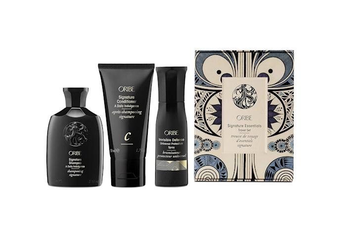 """<h2>Oribe</h2><br><strong><em>Shop 40% off</em></strong><em> Oribe at </em><strong><em><a href=""""https://amzn.to/3xKHZd8"""" rel=""""nofollow noopener"""" target=""""_blank"""" data-ylk=""""slk:Amazon"""" class=""""link rapid-noclick-resp"""">Amazon</a></em></strong><br><strong><em>Shop up to 25% off</em></strong><em> Oribe at </em><strong><em><a href=""""https://www.overstock.com/Oribe,/brand,/results.html"""" rel=""""nofollow noopener"""" target=""""_blank"""" data-ylk=""""slk:Overstock"""" class=""""link rapid-noclick-resp"""">Overstock</a></em></strong><br><br><strong>Oribe</strong> Signature Essentials Travel Set, 1 ct., $, available at <a href=""""https://amzn.to/3qjSS3u"""" rel=""""nofollow noopener"""" target=""""_blank"""" data-ylk=""""slk:Amazon"""" class=""""link rapid-noclick-resp"""">Amazon</a>"""