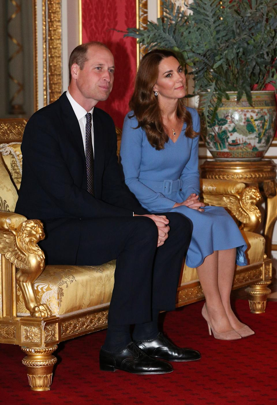 The Duke and Duchess of Cambridge during an audience with the President of Ukraine, Volodymyr Zelenskyy, and his wife, Olena at Buckingham Palace, London.