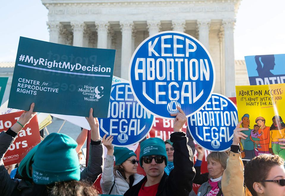 Activists supporting legal access to abortion protest outside the Supreme Court in April 2020.
