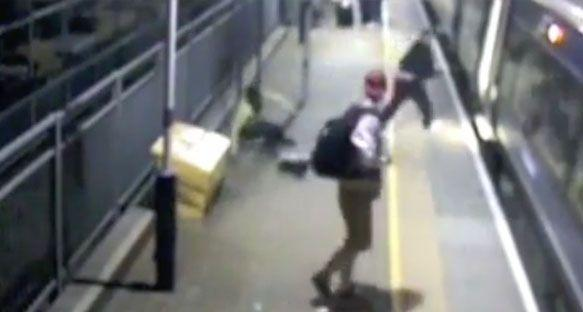 The passenger was kicked to the chest on the train platform before Pearce ran away. Source: BTP