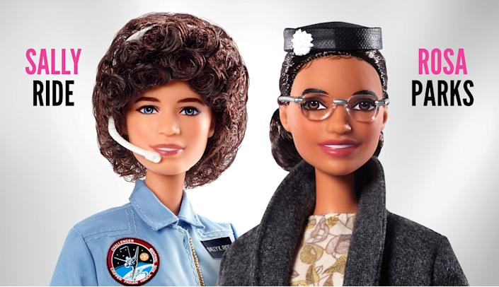 Barbie introduced two new dolls to their Inspiring Women series on Monday: Sally Ride and Rosa Parks. (Photo: Barbie)