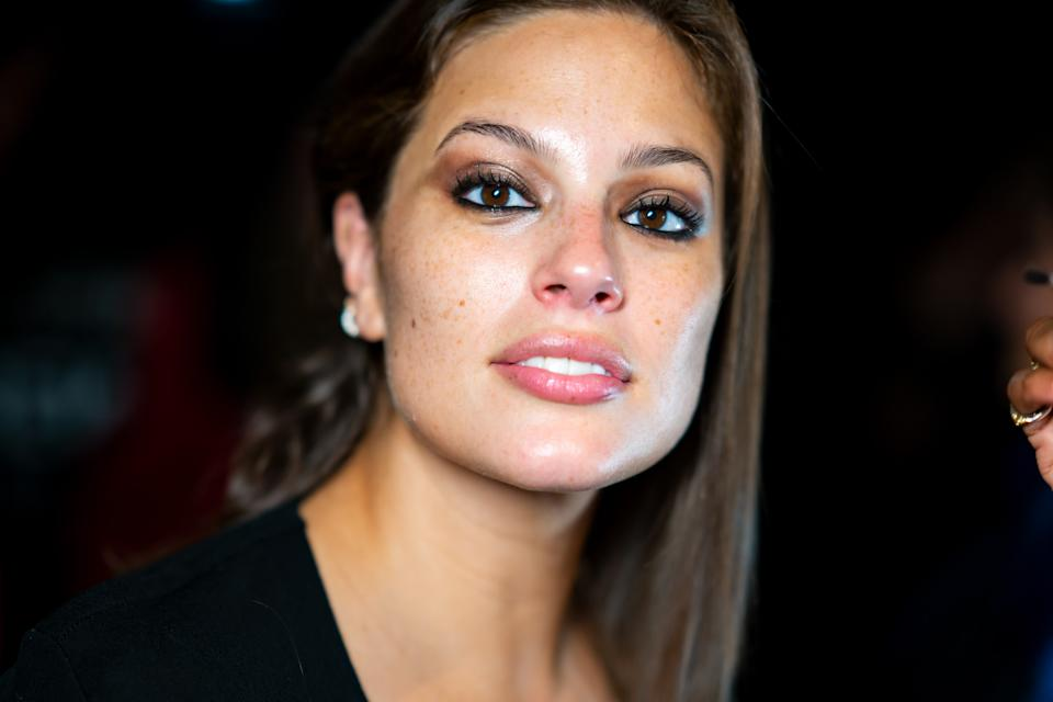 NEW YORK, NEW YORK - SEPTEMBER 08: Ashley Graham prepares before the TOMMYNOW New York Fall 2019 fashion show at The Apollo Theater on September 08, 2019 in New York City. (Photo by Gotham/WireImage)