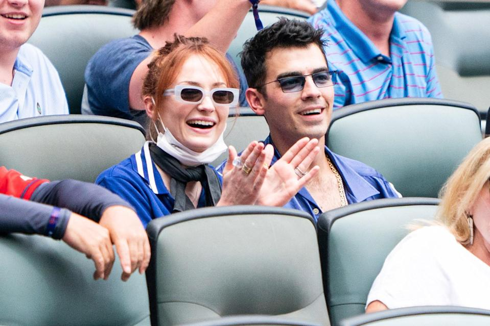 <p>Sophie Turner and Joe Jonas are spotted taking in the game as the Atlanta Braves play against the Los Angeles Dodgers on June 6 in Atlanta. </p>