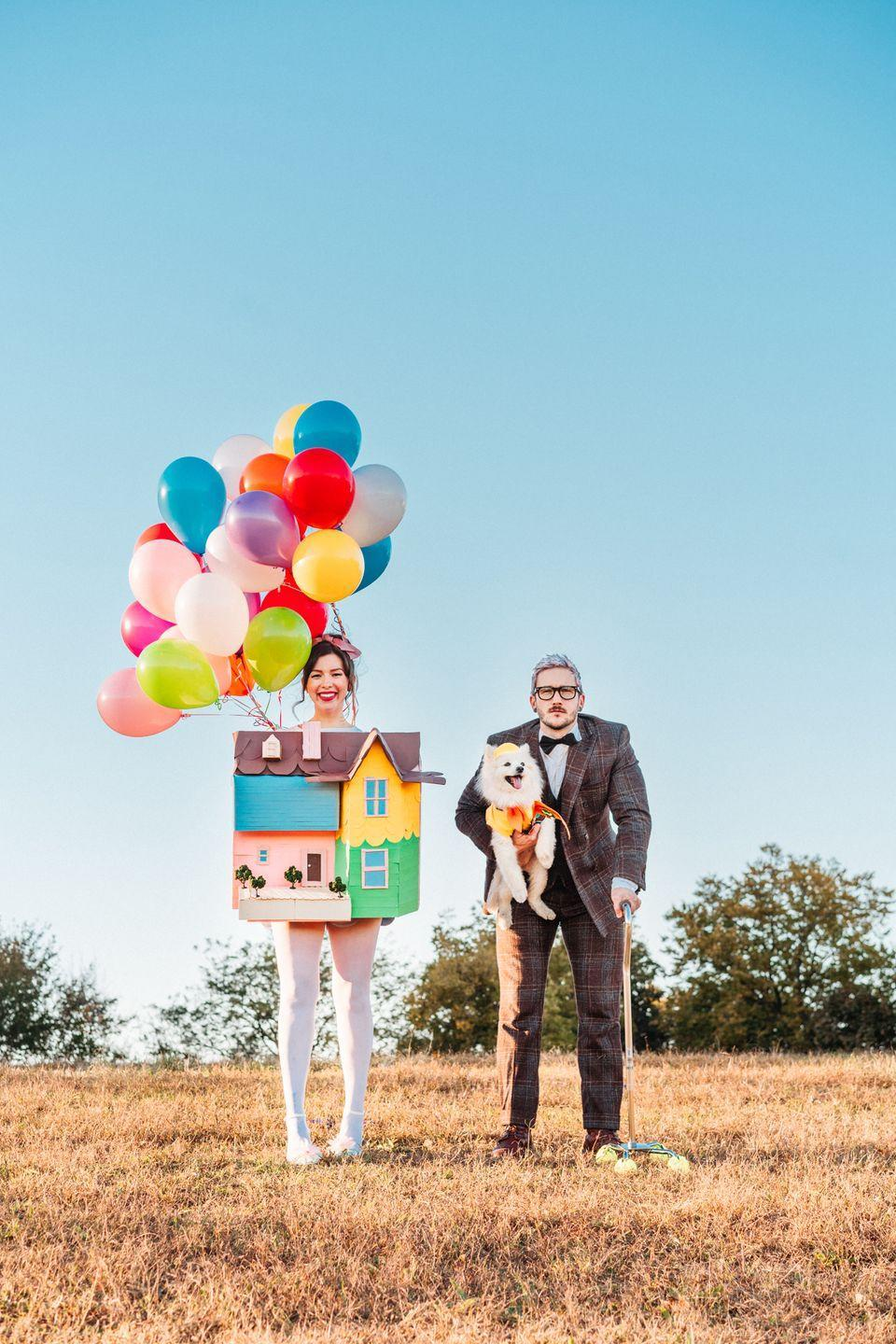 """<p>Get a glimpse into your future by convincing your partner to dress up as Russell, the sweet grandpa from <em>Up</em>. For your look, transform a cardboard box into a colorful house, balloons and all, to resemble Carl's.</p><p><em><a href=""""https://keikolynn.com/2018/10/halloween-up-costume-disney-pixar/"""" rel=""""nofollow noopener"""" target=""""_blank"""" data-ylk=""""slk:Get the tutorial at Keiko Lynn »"""" class=""""link rapid-noclick-resp"""">Get the tutorial at Keiko Lynn »</a></em> </p>"""