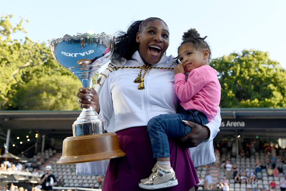 Serena Williams celebrates with daughter Olympia