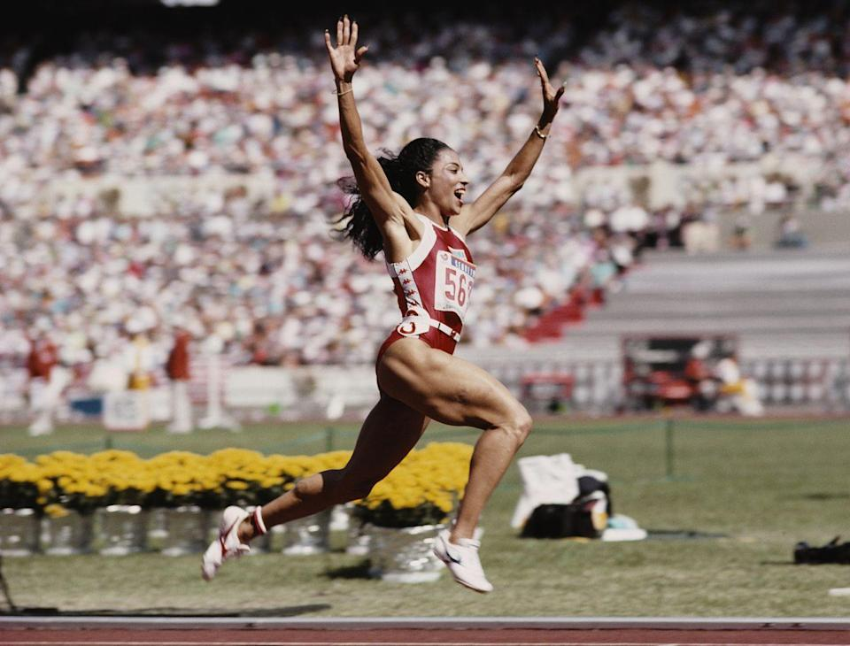"""<p>U.S. sprinter Florence Griffith Joyner, or """"Flo-Jo,"""" set world records for the 100m and 200m sprints that have yet to be beaten; she's still the fastest woman of all time. </p>"""