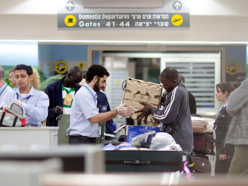 A man is screened at a security check at Ben Gurion Airport on December 13, 2010 in Tel Aviv, Israel. (Getty Images)
