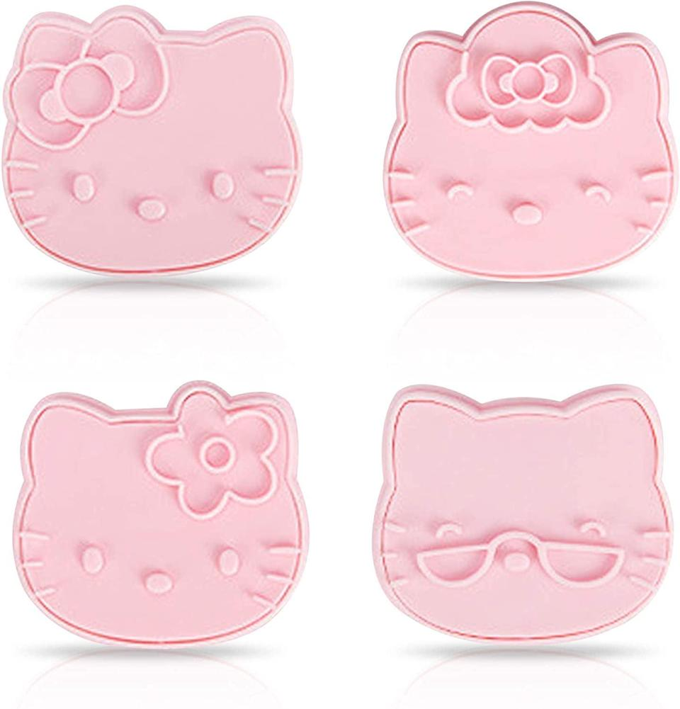 <p>The <span>Finex Hello Kitty Pink Bakeware 4 Pcs Set Pusher and Lifter Cookie Cutter </span> ($12) will create the cutest and yummiest cookies.</p>