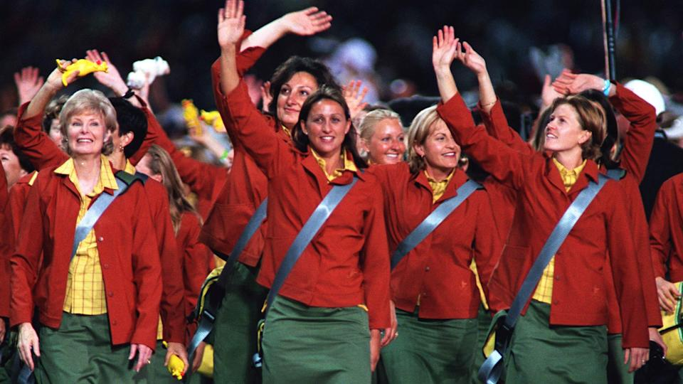 Australia's uniforms for the 2000 Olympic Games in Sydney haven't aged particularly well. (Photo by THIERRY ORBAN/Sygma via Getty Images)