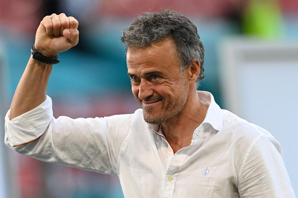 Spain's coach Luis Enrique celebrates at the end of the UEFA EURO 2020 round of 16 football match between Croatia and Spain at the Parken Stadium in Copenhagen on June 28, 2021. (Photo by STUART FRANKLIN / POOL / AFP) (Photo by STUART FRANKLIN/POOL/AFP via Getty Images)