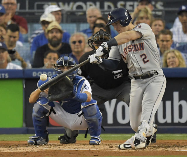 <p>Houston Astros' Alex Bregman hits an RBI single during the third inning of Game 2 of baseball's World Series against the Los Angeles Dodgers Wednesday, Oct. 25, 2017, in Los Angeles. (AP Photo/Mark J. Terrill) </p>