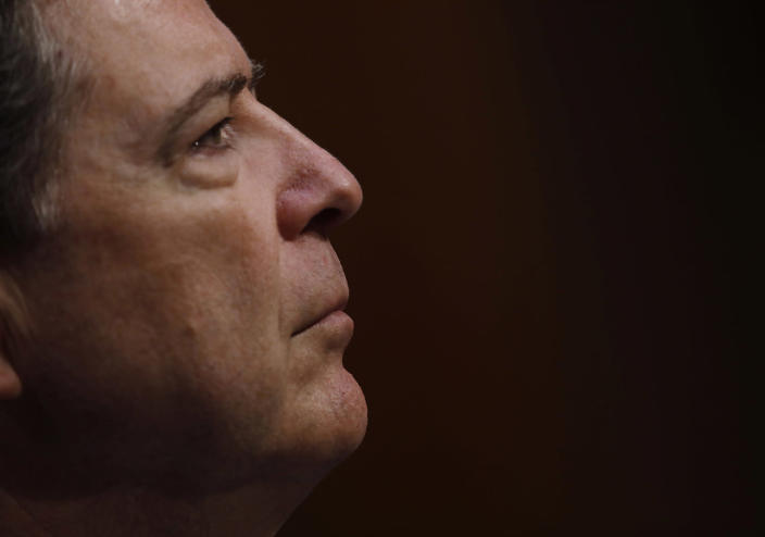 """<p>Former FBI Director James Comey testifies before a Senate Intelligence Committee hearing on """"Russian Federation Efforts to Interfere in the 2016 U.S. Elections"""" on Capitol Hill in Washington, June 8, 2017. (Photo: Aaron P. Bernstein/Reuters) </p>"""