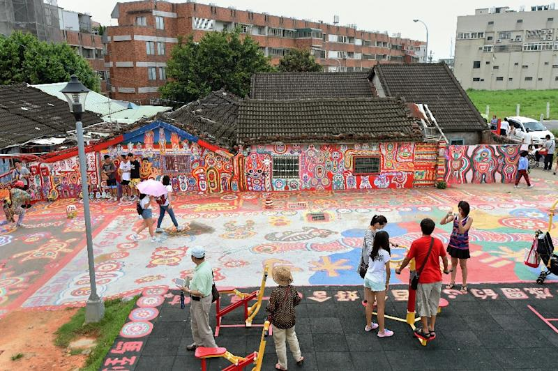 Settlement known as the Rainbow Village in Taichung, decorated by 93-year-old artist Huang Yung-fu, in the Nantun district of central Taiwan