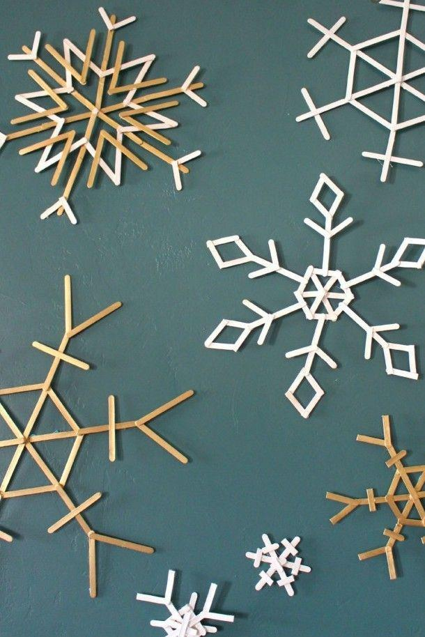 "<p>Simply arrange, glue, and spray paint popsicle sticks for a snowy indoor wall scene. Or use pipe cleaners and turn them into coasters. Get the tutorial at <a href=""http://www.agirlandagluegun.com/2015/12/popsicle-sticks-snowflakes-sugar-bee.html"" rel=""nofollow noopener"" target=""_blank"" data-ylk=""slk:A Girl and a Glue Gun"" class=""link rapid-noclick-resp"">A Girl and a Glue Gun</a>.</p>"