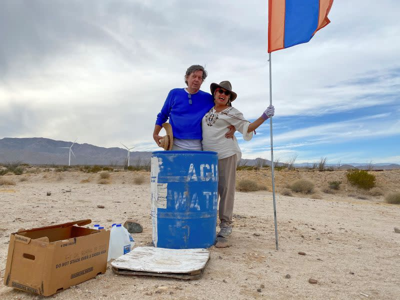 John Hunter, a supporter of U.S. President Donald Trump, and his wife Laura, who doesn't support Trump, set up water stations for people illegally crossing the US-Mexico border