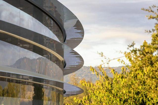 Apple Park's main ring-like structure is sheathed entirely in curved glass. Source: Apple