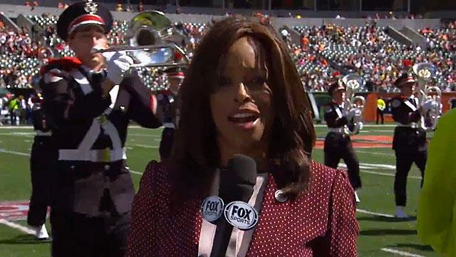 Pam Oliver's Ohio State Marching Band run-in