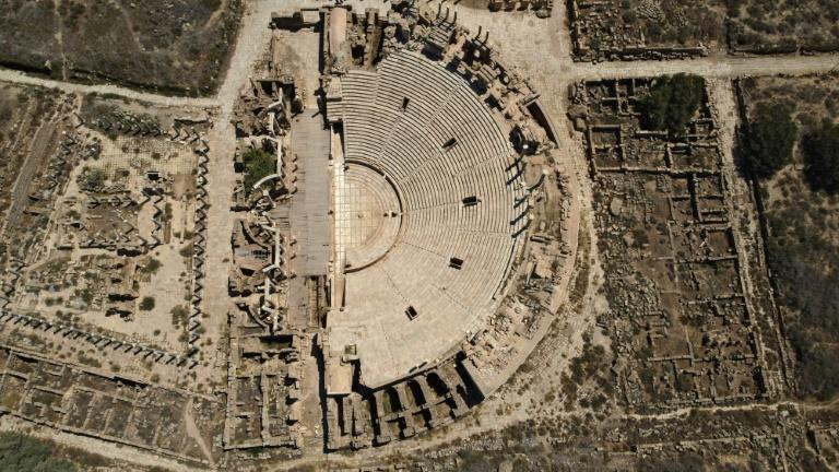 An aerial view of the theatre which seated up to 15,000 spectators on arched terraces overlooking the Mediterranean Sea (AFP/Mahmud TURKIA)