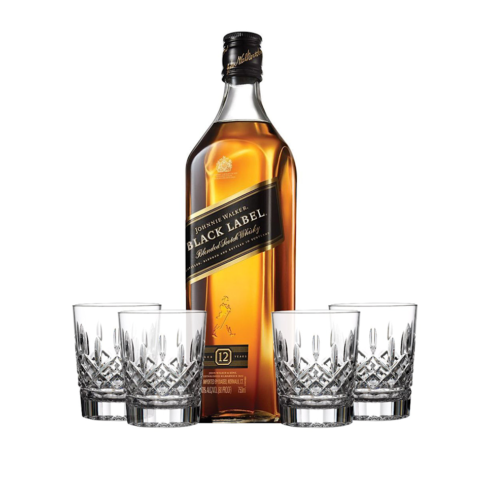 """<p><strong>Johnnie Walker</strong></p><p>reservebar.com</p><p><strong>$95.00</strong></p><p><a href=""""https://go.redirectingat.com?id=74968X1596630&url=https%3A%2F%2Fwww.reservebar.com%2Fproducts%2Fjohnnie-walker-black-label-with-waterford-markham-double-old-fashioned-glasses&sref=https%3A%2F%2Fwww.bestproducts.com%2Fparenting%2Fg36095713%2Ffirst-fathers-day-gift-ideas%2F"""" rel=""""nofollow noopener"""" target=""""_blank"""" data-ylk=""""slk:Shop Now"""" class=""""link rapid-noclick-resp"""">Shop Now</a></p><p>There is something spectacularly celebratory about a bottle of Johnnie Walker and cut crystal glasses. This set comes with free custom engraving on the bottle. You could make the message as sweet or as impersonal as you like, depending upon the recipient. </p>"""