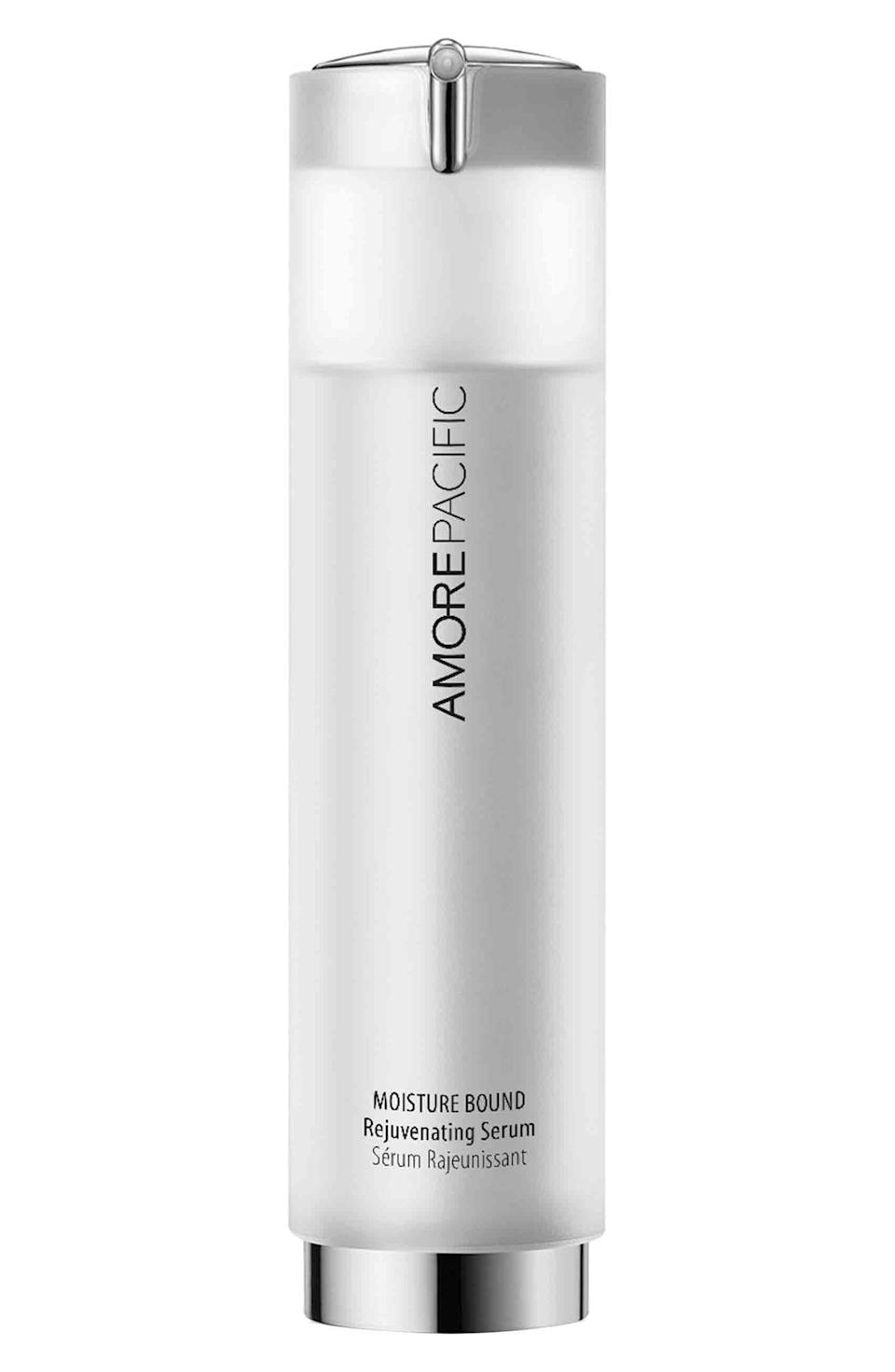 """<p><strong>AMOREPACIFIC</strong></p><p>nordstrom.com</p><p><strong>$100.00</strong></p><p><a href=""""https://go.redirectingat.com?id=74968X1596630&url=https%3A%2F%2Fwww.nordstrom.com%2Fs%2Famorepacific-moisture-bound-rejuvenating-serum%2F3291038&sref=https%3A%2F%2Fwww.harpersbazaar.com%2Fbeauty%2Fskin-care%2Fg37060038%2Fbest-korean-skin-care-products%2F"""" rel=""""nofollow noopener"""" target=""""_blank"""" data-ylk=""""slk:Shop Now"""" class=""""link rapid-noclick-resp"""">Shop Now</a></p><p>Amorepacific has roots dating back to the 1930s, and their products are still some of the most highly sought-after to this day. This lightweight serum plumps up fine lines, hydrates, and fortifies skin with continued use. </p>"""