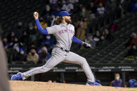 New York Mets relief pitcher Robert Gsellman (44) throws against the Chicago Cubs during the fourth inning of a baseball game Wednesday, April 21, 2021, in Chicago. (AP Photo/Mark Black)