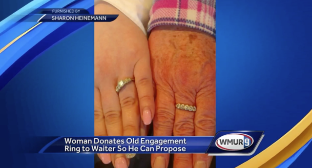A grandmother named Sharon Heinemann gave her engagement ring to a waiter who couldn't afford one for his girlfriend. (Photo: WMUR)