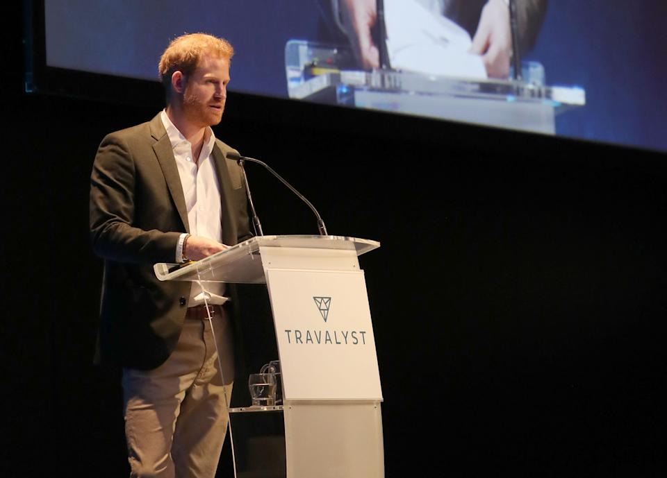 The Duke of Sussex speaking during a sustainable tourism summit at the Edinburgh International Conference Centre in Edinburgh. (Photo by Andrew Milligan/PA Images via Getty Images)