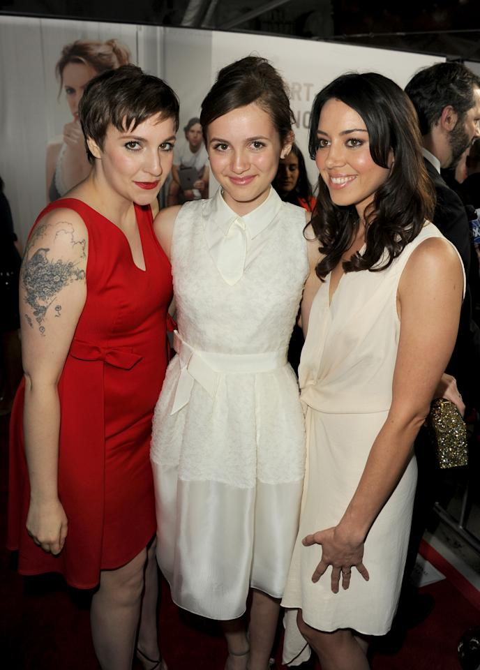 """HOLLYWOOD, CA - DECEMBER 12: Actors Lena Dunham, Maude Apatow and Aubrey Plaza attend the premiere of Universal Pictures' """"This Is 40"""" at Grauman's Chinese Theatre on December 12, 2012 in Hollywood, California.  (Photo by Kevin Winter/Getty Images)"""