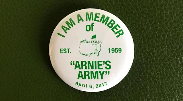 """In honor of the late Arnold Palmer, the Masters will give each patron who enters Augusta National on Thursday a special commemorative """"Arnie's Army"""" badge."""
