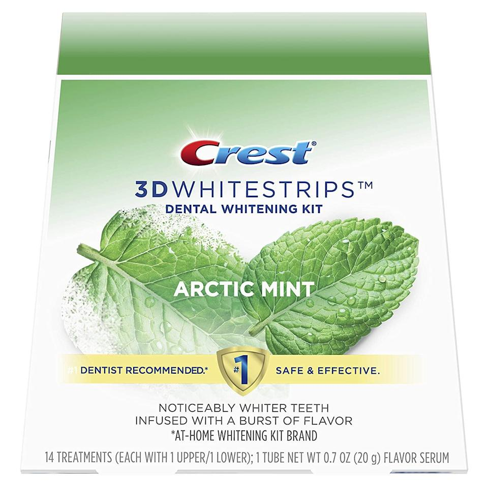 """<br><br><strong>Crest</strong> 3D Whitestrips Arctic Mint, Teeth Whitening Kit, $, available at <a href=""""https://amzn.to/3lN5k8d"""" rel=""""nofollow noopener"""" target=""""_blank"""" data-ylk=""""slk:Amazon"""" class=""""link rapid-noclick-resp"""">Amazon</a>"""