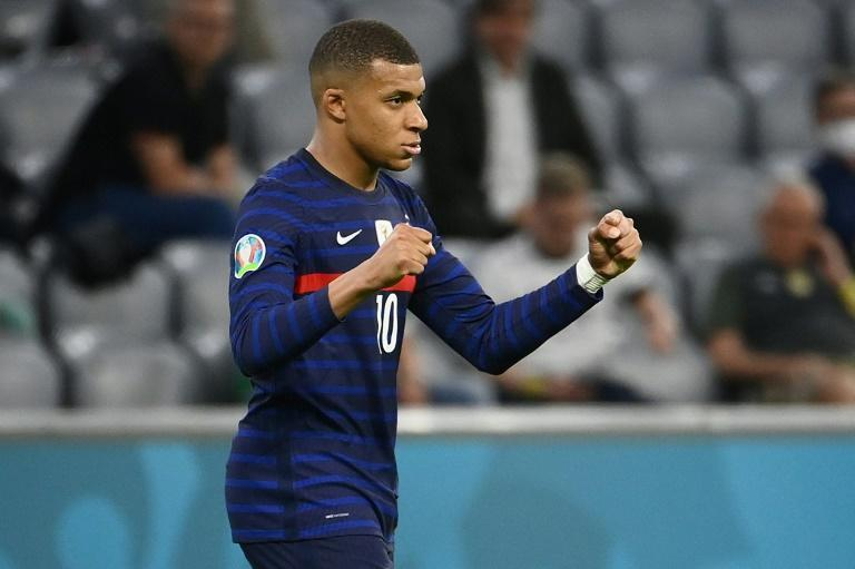 France forward Kylian Mbappe celebrates their win over Germany at Euro 2020 on Tuesday