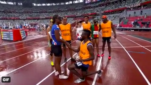 """<p>Manuel Antonio Vaz da Veiga, long time guide to Cape Verde runner Keula Nidreia Pereira Semedo and partner of 11 years, proposed after the women's T11 200m heats in <a href=""""https://twitter.com/Paralympics/status/1433244477305536514?ref_src=twsrc%5Etfw%7Ctwcamp%5Etweetembed%7Ctwterm%5E1433244477305536514%7Ctwgr%5E%7Ctwcon%5Es1_&ref_url=https%3A%2F%2Fwww.republicworld.com%2Fsports-news%2Fother-sports%2Ftokyo-paralympics-visually-impaired-sprinter-gets-surprise-marriage-proposal-from-guide.html"""" rel=""""nofollow noopener"""" target=""""_blank"""" data-ylk=""""slk:an incredibly touching moment"""" class=""""link rapid-noclick-resp"""">an incredibly touching moment</a>. No, you're crying.</p>"""