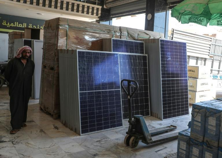 Solar panels for sale in Syria; one survey found eight percent pf people in rebel areas used solar as the main source of power in their homes