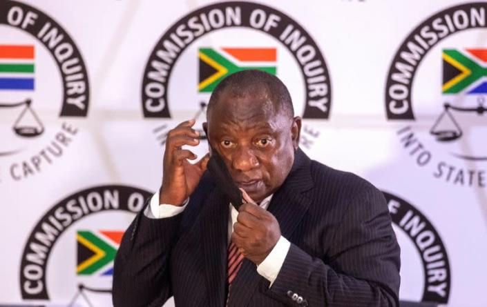 FILE PHOTO: South African President Cyril Ramaphosa appears to testify before the Zondo Commission of Inquiry into State Capture in Johannesburg