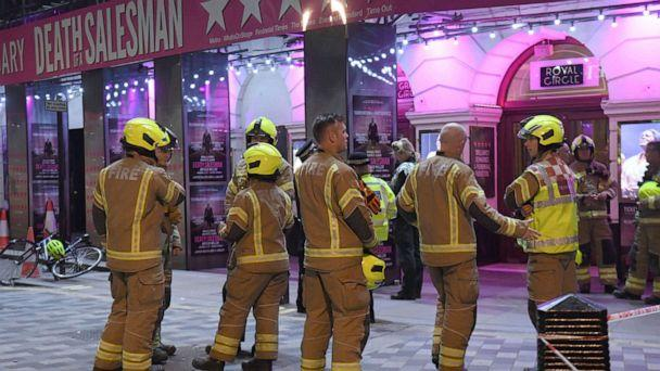 PHOTO: Fire fighters outside the Piccadilly Theatre in London, after it was evacuated when part of the ceiling fell into the auditorium during a performance of the play Death of a Salesman, Wednesday Nov. 6, 2019. (Kirsty O'Connor/PA via AP) (Kirsty O'connor/AP)