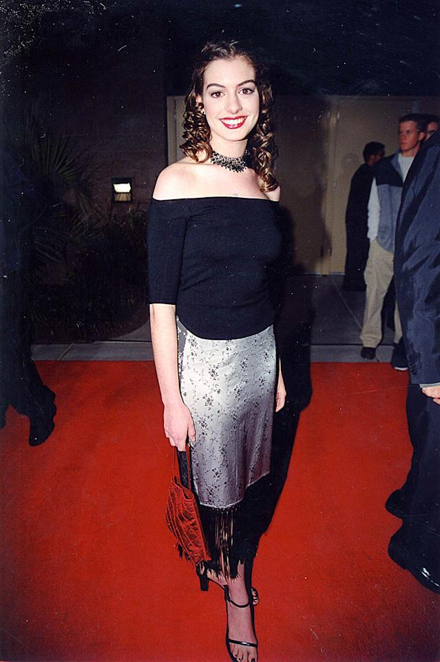 Anne Hathaway probably no longer owns this outfit from the 1999 Billboard Music Awards.