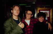 Actor River Phoenix, singer k.d. lang and actress Liza Minnelli help Rhino Records celebrate the release of its new compilation album 'Tame Yourself' to benefit PETA on February 28, 1991 at the Hard Rock Cafe in New York City. (Photo by The LIFE Picture Collection via Getty Images)