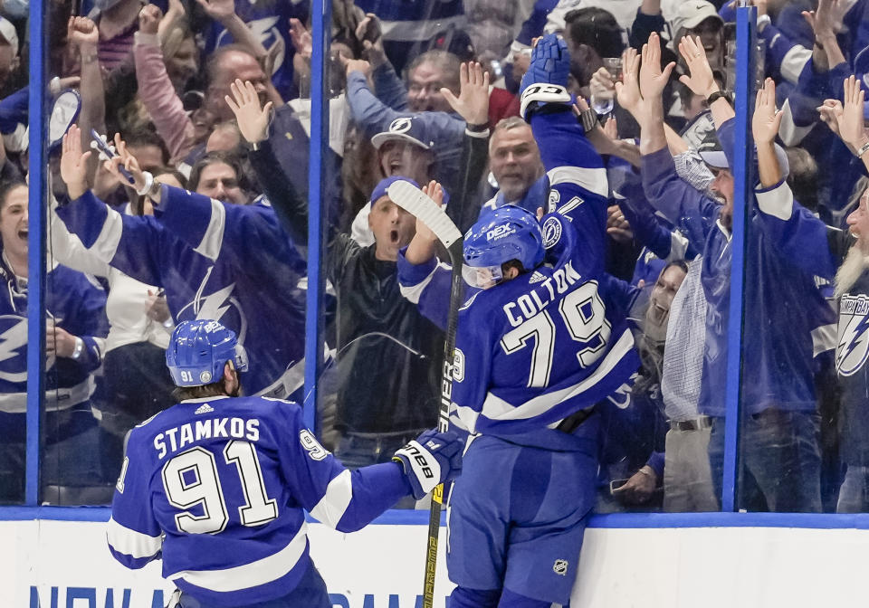 TAMPA, FL - JULY 07: Tampa Bay Lightning left wing Ross Colton (79) scores a goal late in the 2nd period to give Tampa Bay Lightning a 10 leads during Game 5 of the NHL Stanley Cup Finals Hockey match between the Tampa Bay Lightning and Montreal Canadiens on July 7, 2021 at Amalie Arena in Tampa, FL. (Photo by Andrew Bershaw/Icon Sportswire via Getty Images)