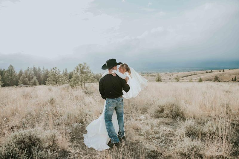 """A smokejumper and a helicopter pilot fell in love and got married! Tori and Marcus married east of Corvallis amongst their close family and friends with an amazing mountain backdrop! Congratulations, you two!"" -- <i>Tabby Miller</i>"