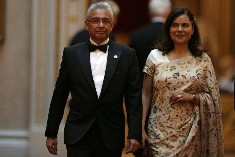 Mauritius's Prime Minister Pravind Jugnauth and wife Kobita Ramdanee at a Commonwealth Heads of Government Meeting in London earlier this year