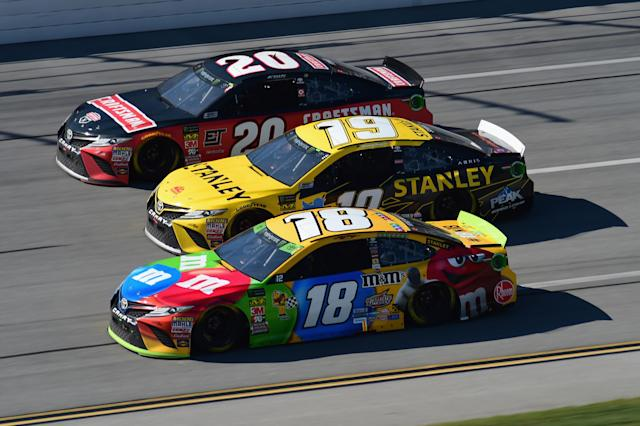 The rare shot of car Nos. 18, 19 and 20. (Getty Images)