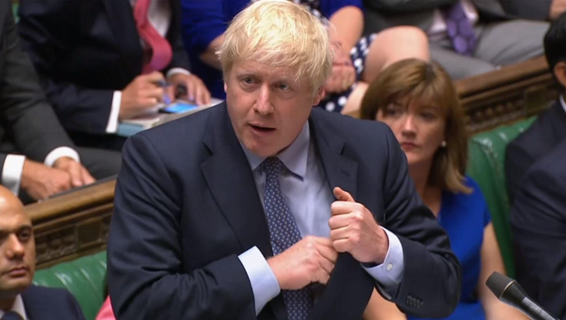 Prime Minister Boris Johnson speaks during Prime Minister's Questions