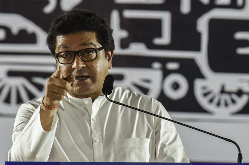 MUMBAI, INDIA - OCTOBER 17: Maharashatra Navnirman Sena (MNS) chief Raj Thackeray addresses an election rally at Prabhadevi, on October 17, 2019 in Mumbai, India. (Photo by Kunal Patil/Hindustan Times via Getty Images) (Photo: Hindustan Times via Getty Images)