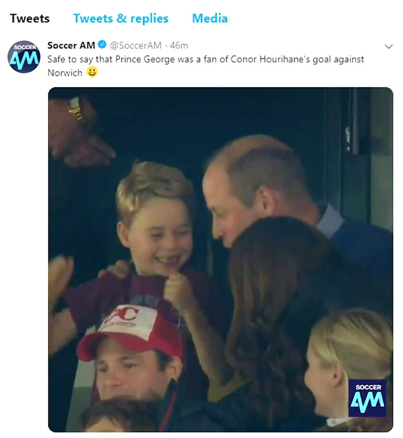 The six-year-old was joined by his parents the Duke and Duchess of Cambridge, as well as his four-year-old sister Charlotte. Photo: Soccer AM/Twitter/PA Wire