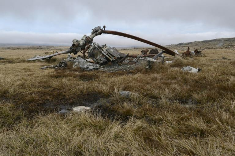 Remains of an Argentine helicopter shot down during the Falklands War. Argentine Peronist frontrunner Alberto Fernandez warned in an election debate that he wanted to 'renew sovereignty claims' (AFP Photo/Pablo PORCIUNCULA BRUNE)