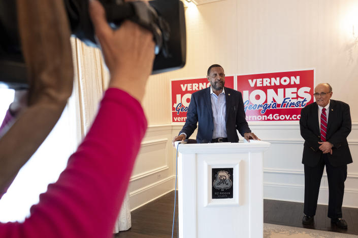Vernon Jones speaks after Rudy Giuliani endorsed him for GOP candidate for Governor of Georgia during a press conference Wednesday, June 30, 2021 in Atlanta, Ga. (AP Photo/Ben Gray)